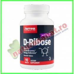 D - Ribose 1000 mg 90 tablete masticabile - Jarrow Formulas - Secom