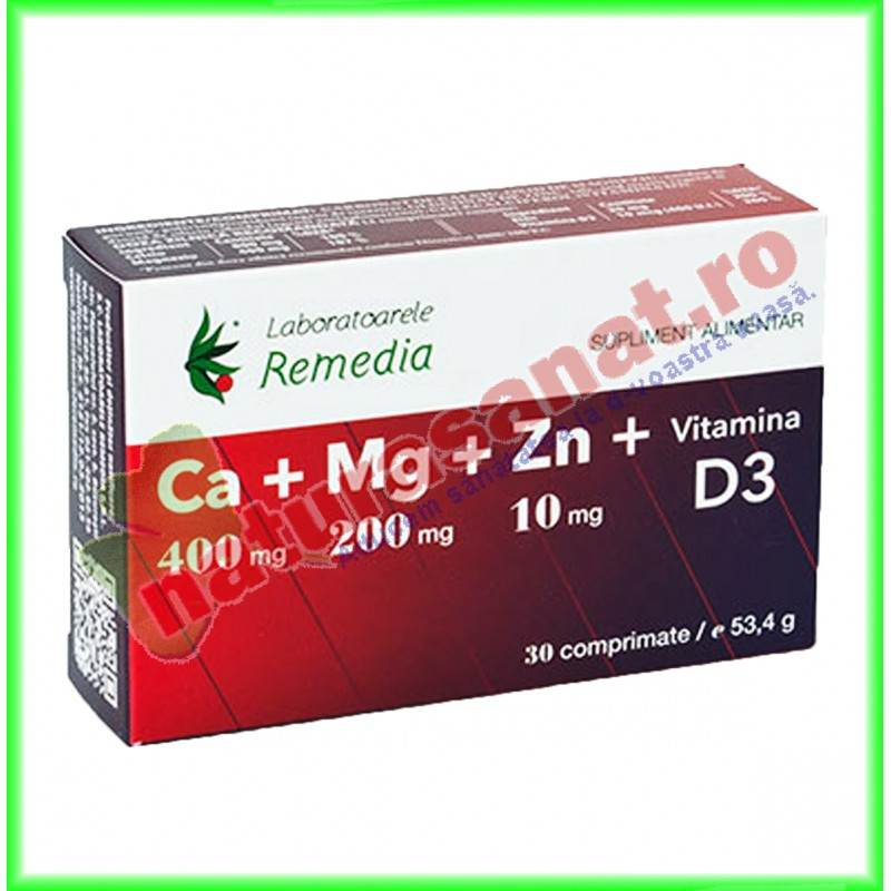 Calciu Magneziu Zinc (Ca+Mg+Zn) + Vitamina D3 30 comprimate - Laboratoarele Remedia