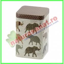 Cutie metalica patrata cu elefanti 100 g Sinas - Niavis