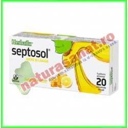 Herbaflu Septosol Miere si Lamaie 20 comprimate de supt - Biofarm