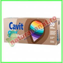 Cavit 9 Plus cu aroma de ciocolata 20 tablete masticabile - Biofarm