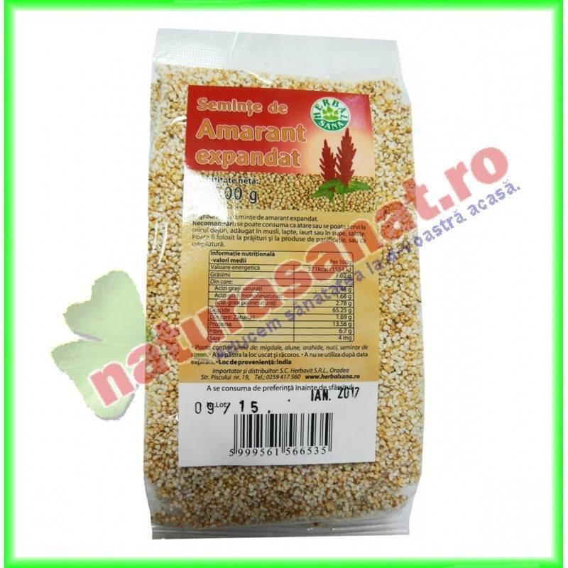 Amarant Seminte Expandate 100 g Herbalsana - Herbavit