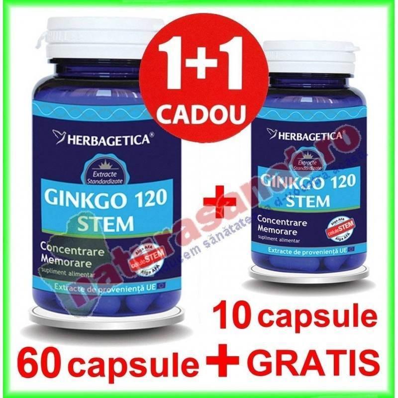 Ginkgo 120 Stem PROMOTIE 60+10 capsule GRATIS - Herbagetica