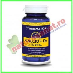 Calciu +D3 cu vit K2 60 capsule - Herbagetica