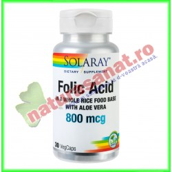 Folic Acid 800mcg 100 capsule vegetale - Solaray - Secom