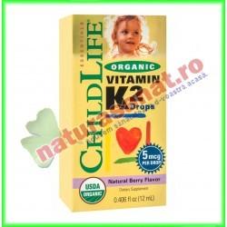Organic Vitamin K2 (Vitamina K2 organica) (copii) 15 mcg 12 ml  - Childlife Essentials - Secom