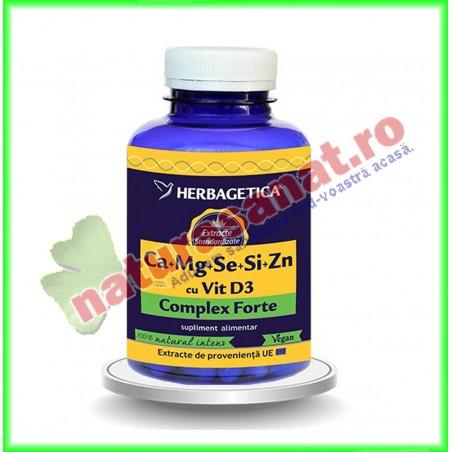 Ca+Mg+Se+Si+Zn (Calciu+Magneziu+Seleniu+Siliciu+Zinc) cu Vit D3 Complex Forte 120 capsule - Herbagetica