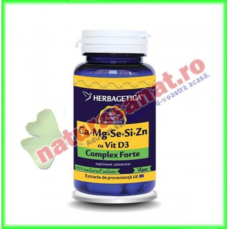 Ca+Mg+Se+Si+Zn (Calciu+Magneziu+Seleniu+Siliciu+Zinc) cu Vit D3 Complex Forte 60 capsule - Herbagetica