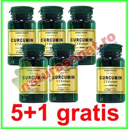 Curcumin C3 Extract 400mg echivalent 8000mg 60 capsule PROMOTIE 5+1 GRATIS - Cosmo Pharm
