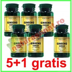 Ginseng Corean (Panax ginseng) 100 mg 60 capsule PROMOTIE 5+1 GRATIS - Cosmo Pharm