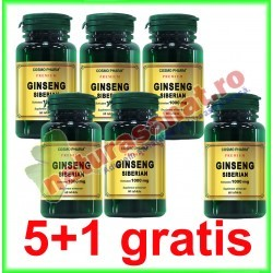 Ginseng Siberian 100 mg 60 capsule PROMOTIE 5+1 GRATIS - Cosmo Pharm