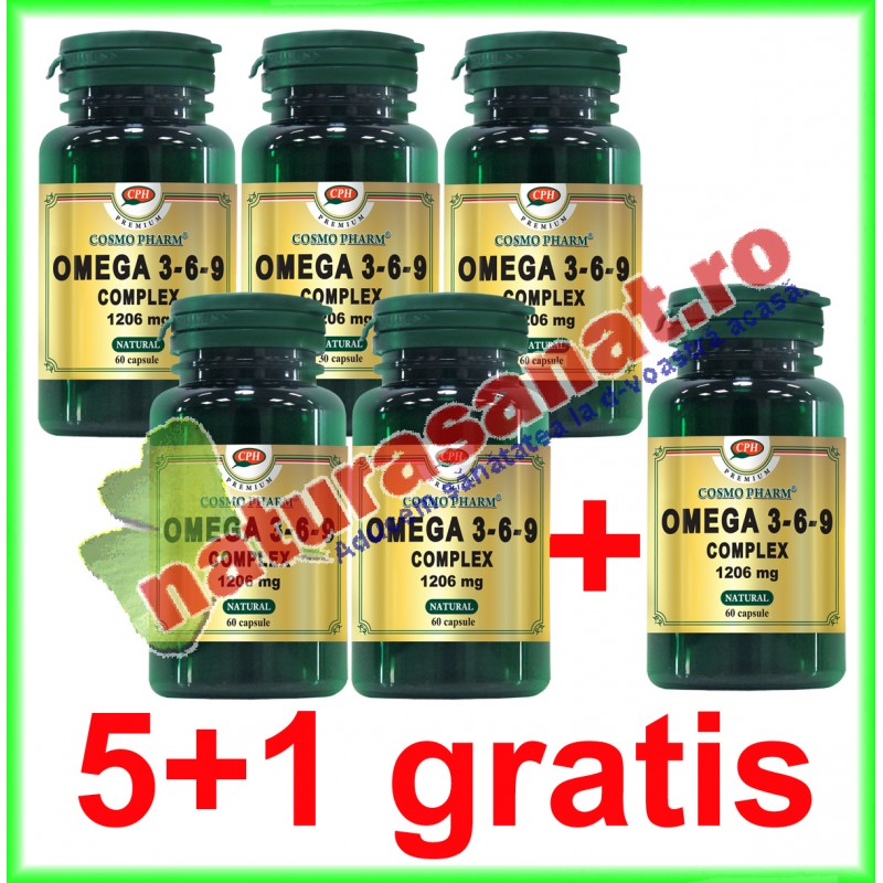 Omega 3-6-9 Complex 1206 mg 60 capsule PROMOTIE 5+1 GRATIS - Cosmo Pharm
