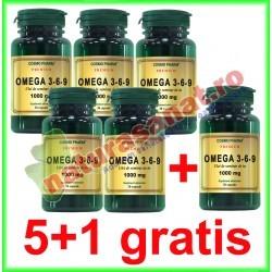Omega 3-6-9 Ulei de In 1000 mg 30 capsule PROMOTIE 5+1 GRATIS - Cosmo Pharm