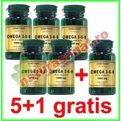 Omega 3-6-9 Ulei de In 1000 mg 60 capsule PROMOTIE 5+1 GRATIS - Cosmo Pharm