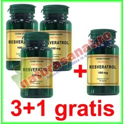 Resveratrol 100 mg 30 capsule PROMOTIE 3+1 GRATIS - Cosmo Pharm