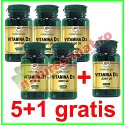 Vitamina D3 2000 UI 30 capsule PROMOTIE 5+1 GRATIS - Cosmo Pharm
