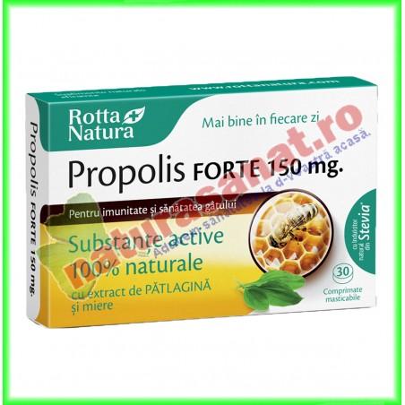 Propolis Forte 150 mg cu Extract de Patlagina si Miere 30 comprimate masticabile - Rotta Natura