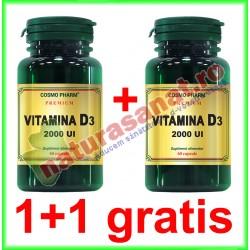 Vitamina D3 2000 UI 30 capsule PROMOTIE 1+1 GRATIS - Cosmo Pharm