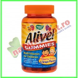 Alive! Gummies Multi-Vitamin for Children ( Multivitamine pentru Copii ) 90 jeleuri - Nature's Way - Secom
