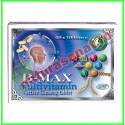B-MAX Multivitamine cu Ginseng Activ 40 comprimate - Dr. Chen Patika - Mixt Com - www.naturasanat.ro