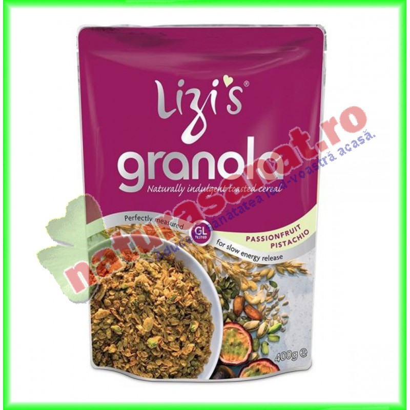 Granola cu Fructul Pasiunii si Fistic 400 g Lizi's - Unicorn Naturals - www.naturasanat.ro