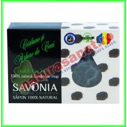 Sapun Natural Carbune si Arbore de Ceai 90 g - Savonia - www.naturasanat.ro