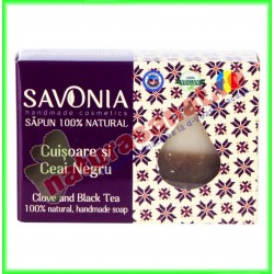 Sapun Natural Cuisoare si Ceai Negru 90 g - Savonia - www.naturasanat.ro