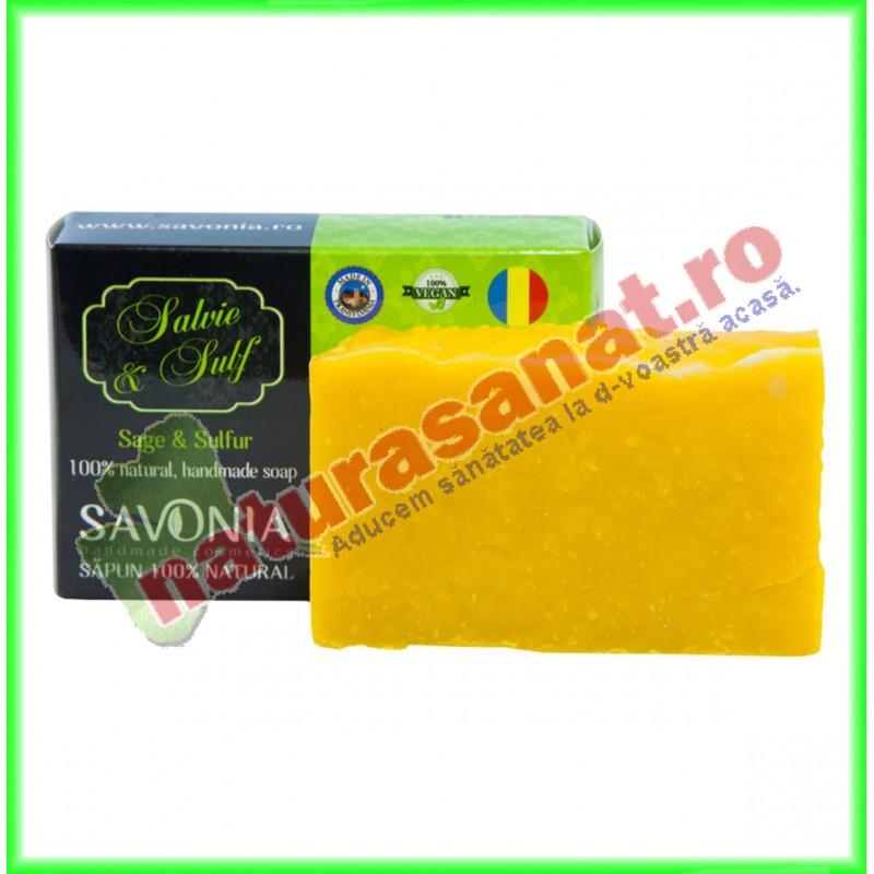 Sapun Natural Salvie si Sulf 90 g - Savonia - www.naturasanat.ro
