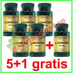 L-Carnitina 500 mg 30 tablete PROMOTIE 5+1 GRATIS - Cosmo Pharm - www.naturasanat.ro