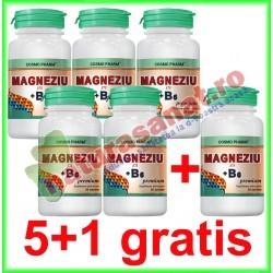 Magneziu 375+B6 Premium Formula 30 tablete PROMOTIE 5+1 GRATIS - Cosmo Pharm - www.naturasanat.ro