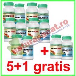 Neurotonic 30 capsule + Melatonina 3 mg 10 capsule GRATIS PROMOTIE 5+1 GRATIS - Cosmo Pharm - www.naturasanat.ro