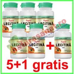 Super Lecitina 1200 mg 30 capsule PROMOTIE 5+1 GRATIS - Cosmo Pharm - www.naturasanat.ro