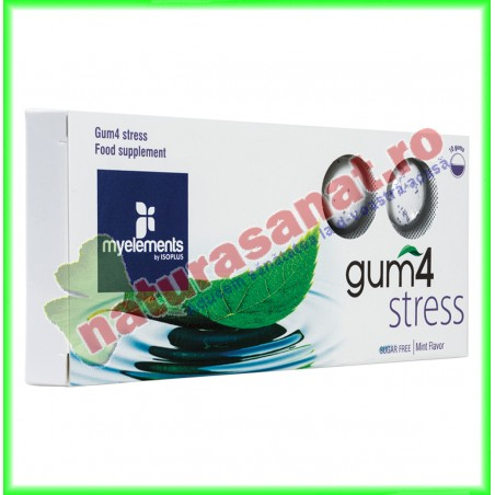 Gum4 Stress Guma de Mestecat pentru Combaterea Stresului 10 buc - MyElements - www.naturasanat.ro