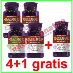 Calciu Masticabil 30 tablete PROMOTIE 4+1 GRATIS - Cosmo Pharm - www.naturasanat.ro