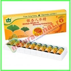 Ginkgo biloba & Ginseng 10 fiole buvabile de 10 ml fiecare - Yong Kang - Co&Co Consumer - www.naturasanat.ro