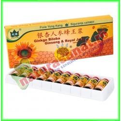 Ginkgo biloba, Ginseng & Royal Jelly 10 fiole buvabile de 10 ml fiecare - Yong Kang - Co&Co Consumer