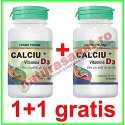 Calciu + Vitamina D3 30 tablete PROMOTIE 1+1 GRATIS - Cosmo Pharm - www.naturasanat.ro