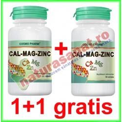 Calciu + Magneziu + Zinc 30 tablete PROMOTIE 1+1 GRATIS - Cosmo Pharm - www.naturasanat.ro