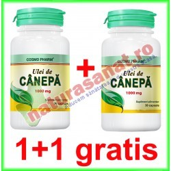 Ulei de Canepa 1000 mg 30 capsule PROMOTIE 1+1 GRATIS - Cosmo Pharm - www.naturasanat.ro