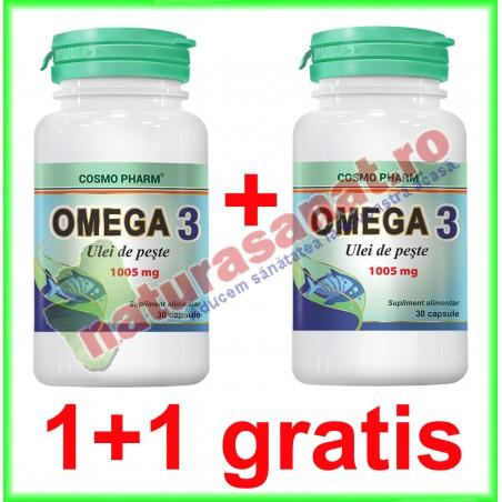Omega 3 Ulei de Peste 1005 mg 30 capsule PROMOTIE 1+1 GRATIS - Cosmo Pharm - www.naturasanat.ro
