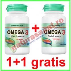 Omega 3 Ulei de Somon 100 mg 30 capsule PROMOTIE 1+1 GRATIS - Cosmo Pharm - www.naturasanat.ro