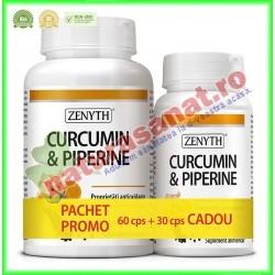 Curcumin & Piperine 500 mg PROMOTIE 60+30 capsule GRATIS - Zenyth - www.naturasanat.ro
