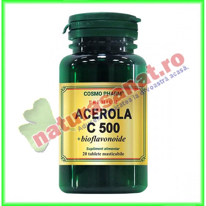 Acerola C 500 mg + bioflavonoide 20 tablete masticabile - Cosmo Pharm - www.naturasanat.ro