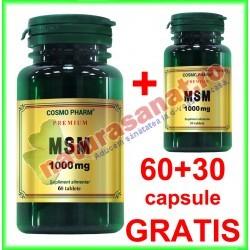 MSM ( Metilsulfonilmetan ) 1000 mg PROMOTIE 60+30 tablete GRATIS - Cosmo Pharm - www.naturasanat.ro