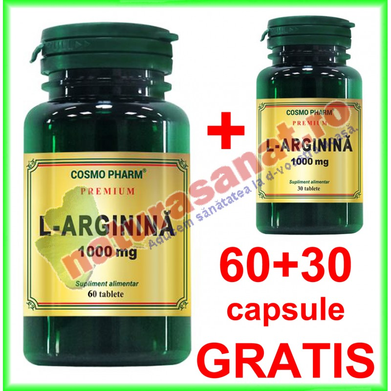 L-Arginina 1000 mg PROMOTIE 60+30 tablete GRATIS - Cosmo Pharm - www.naturasanat.ro