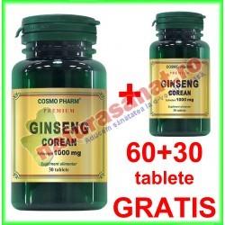 Ginseng Corean (Panax ginseng) 100 mg PROMOTIE 60+30 tablete GRATIS - Cosmo Pharm - www.naturasanat.ro