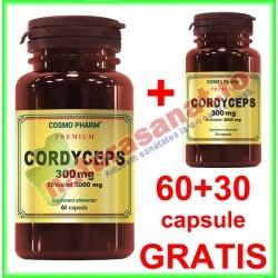 Cordyceps 300mg PROMOTIE 60+30 capsule GRATIS - Cosmo Pharm - www.naturasanat.ro