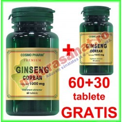 Ginseng Corean (Panax ginseng) 100 mg PROMOTIE 60+30 tablete - Cosmo Pharm - www.naturasanat.ro