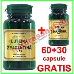 Luteina 10 mg Zeaxantina 2 mg PROMOTIE 60+30 capsule GRATIS - Cosmo Pharm - www.naturasanat.ro