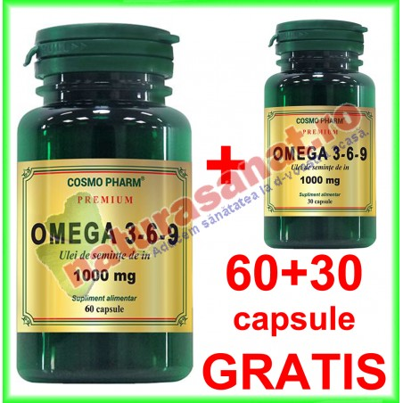 Omega 3-6-9 Ulei de In 1000 mg PROMOTIE 60+30 capsule GRATIS - Cosmo Pharm - www.naturasanat.ro